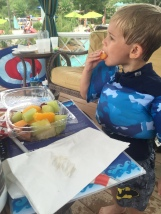 Snacking at the waterpark